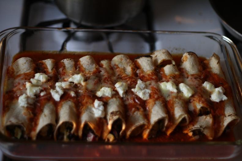 roast zucchini & goats cheese enchiladas