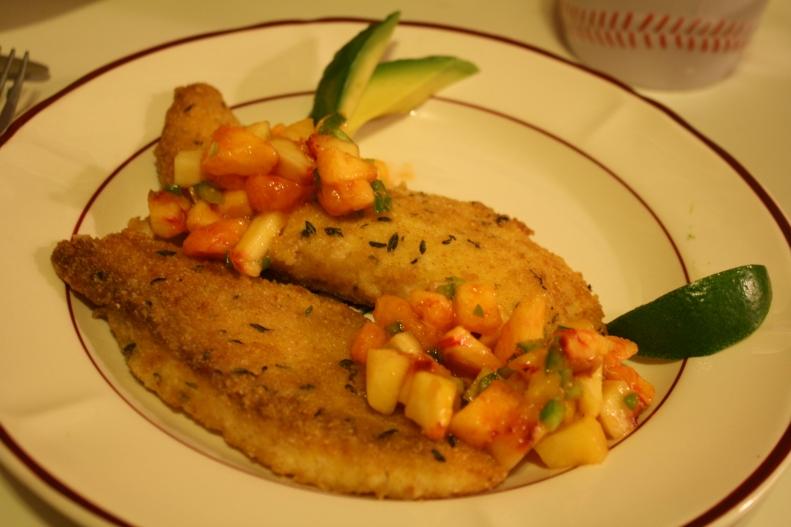 Fish with peach jalapeno salsa
