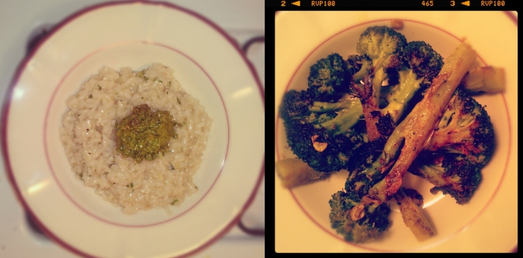Lemon risotto with pesto; caramelised broccoli
